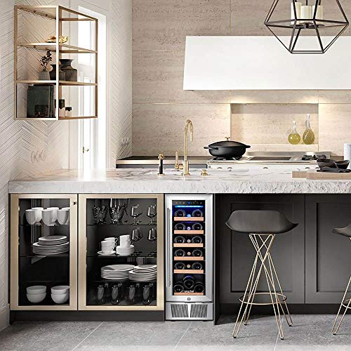 Wine Cooler, Built-in or Freestanding, AMZCHEF 19 Bottle Wine Refrigerator, Quiet, Constant Temperature, Energy Efficient by AMZCHEF (Image #2)