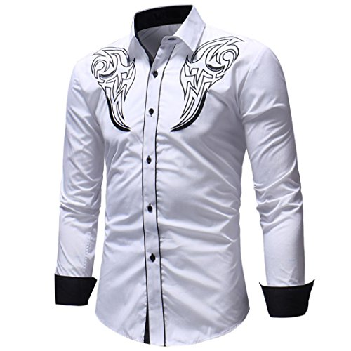 Realdo Clearance Sale, Casual Turn-Down Collar Patchwork Color Embroidery Print Button Down Shirt Top(White,XX-Large) -