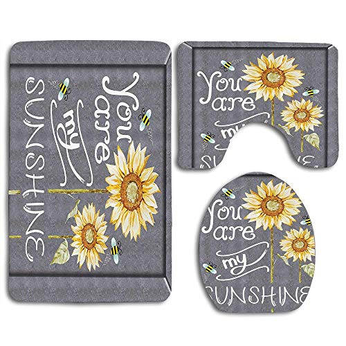 RiuianaBVCc You are My Sunshine Quote on a Black Board with Bees and Sunflowers Bathroom Rug Mat Sets 3 Piece Toilet Carpet Rugs Includes Contour Mat and Lid Cover, Non Slip