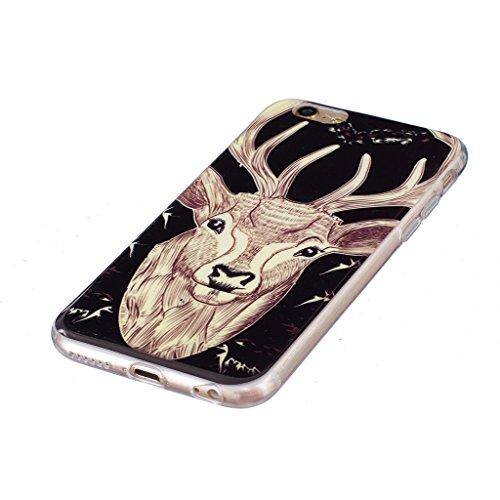 "Coque iPhone 6 Plus / 6S Plus, IJIA Ultra-mince Transparent Noctilucent Cerf Sika TPU Doux Silicone Bumper Case Cover Shell Skin Housse Etui pour Apple iPhone 6 Plus / 6S Plus 5.5"" + 24K Or Autocollan"