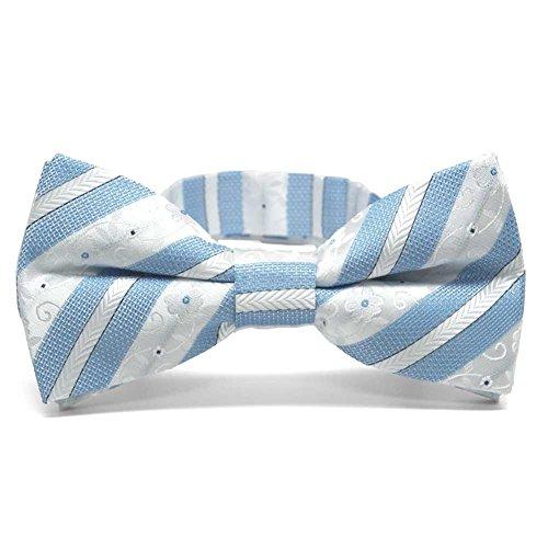 TieMart Sky Blue Anna Floral Stripe Band Collar Bow Tie