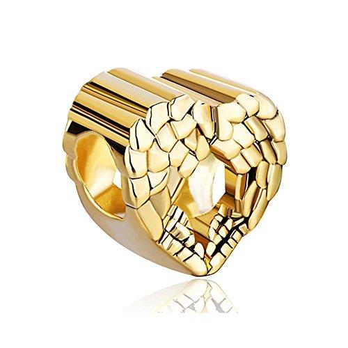 ReisJewelry Heart Angel Wings Charm Bead for Bracelets (Gold Plated)