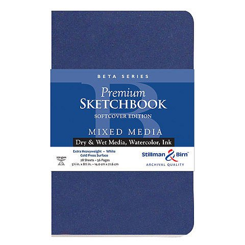 Beta Series Softcover Sketchbook Edition, Heavyweight , 270 gsm, White, Cold Press, 26 Sheets/52 Pages - 8 x 10