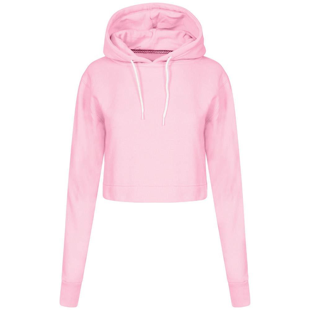 Rambling Women Midriff Sweatshirt, Long Sleeve Solid Hoodie Loose Casual Crop Drawstring Pullover Tops Blouse