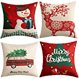 Anickal Christmas Holiday Decorations Christmas Cotton Linen Pillow Covers 18 x 18 with Christmas Truck Deer Snowman Santa Claus Pattern Xmas Gifts