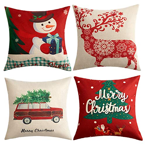 Anickal Christmas Holiday Decorations Christmas Cotton Linen Pillow Covers 18 x 18 with Christmas Truck Deer Snowman Santa Claus Pattern Xmas Gifts ()