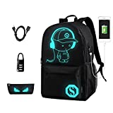 Releeder Anime Backpack for School, Luminous Backpack Canvas Cartoon Backpack with USB Cable, Anti-theft Lock, Pencil Bag for Teens Girls Boys (Black)