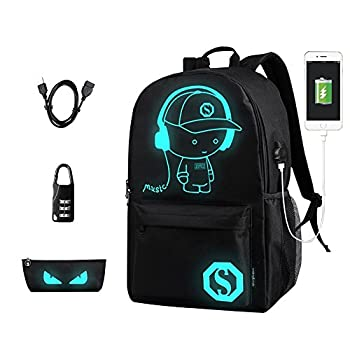 Anime Backpack for School, Luminous Backpack Canvas Cartoon Backpack with USB Cable, Anti-theft Lock, Pencil Bag for Teens Girls Boys (Black)