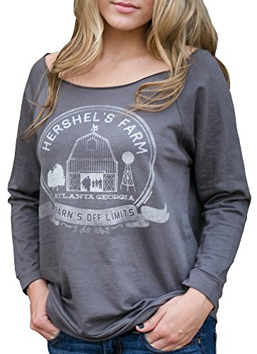 Superluxe™ Womens Hershels Farm Vintage Zombie Barn French Terry T-Shirt, X-Large, Dark Grey (Zombie Women)