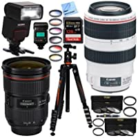 Canon EF 24-70mm f/2.8L II USM & 70-300mm f/4-5.6L IS USM Dual L Series Lens Bundle with Sigma EF-610 DG ST Flash & SanDisk 128GB SDXC Pro Memory Kit