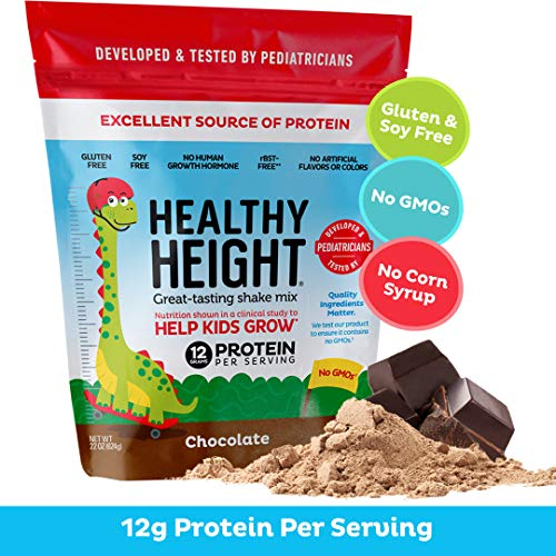 Healthy Height Kids Protein Powder (Chocolate) - Developed By Schneiders Childrens Hospital To Help Children Grow. Nutritional Shake w/ 12grams of Protein, No Corn Syrup, No GMOs, No Soy, Gluten-Free (Best Height Increase Supplement)