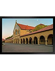 Moonrise Over Stanford University Quad Palo Alto California Photo Art Print Black Wood Framed Poster 20x14 inch