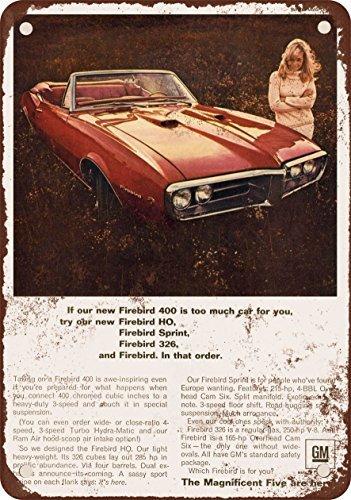 1967 Pontiac Firebird Vintage Look Reproduction Metal Tin Sign 12X18 Inches