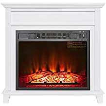 "AKDY 27"" Insert Freestanding Push Button Control White Finish Electric Fireplace Stove Heater"
