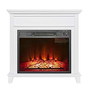 "AKDY 27"" Electric Fireplace Freestanding White Wooden Mantel Firebox 3D Flame w/Logs Heater"