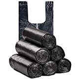 MORYSONG 6 Gallon Medium Trash Bags, Durable Multipurpose Everyday Use Trash Liners for Bathroom, Bedroom, Home, Office, Trash Cans and Garbage Bins (120 Counts/6rolls) (Black, One Size)