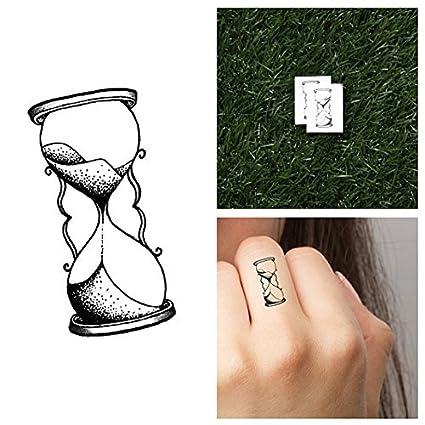 Tatuaje Temporal Tattify - Reloj de arena - El tiempo vuela (juego de 2)