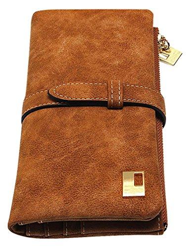 (Maze Women's Stylish Retro Brown PU Leather Suede Like Nubuck Clutch Wallet, Coffee)