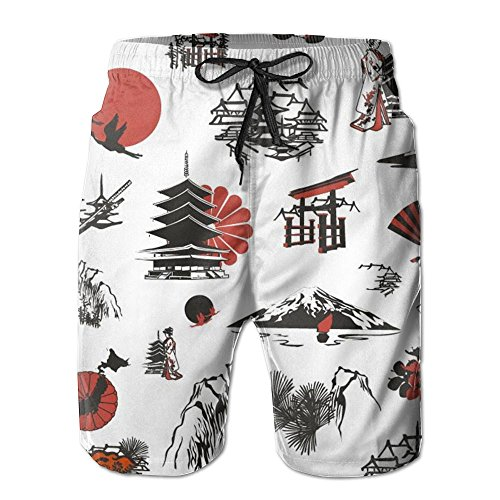 22e6a6c09f ... Swim Trunk. 85%OFF Mens/Men's Japanese Element Summer Beach Shorts  Casual Pants Printing Quick Dry