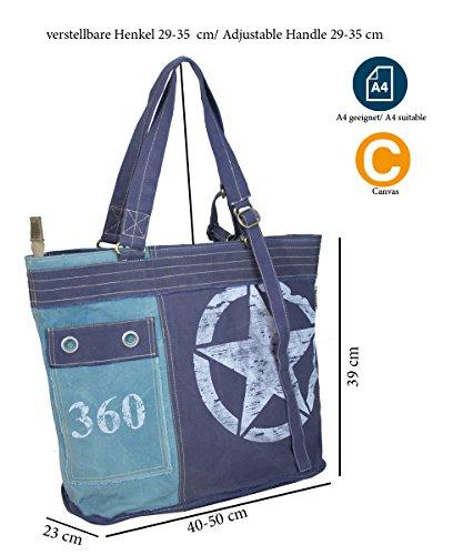 Sunsa, Borsa a spalla donna Blu Blau 40-50x39x23 cm