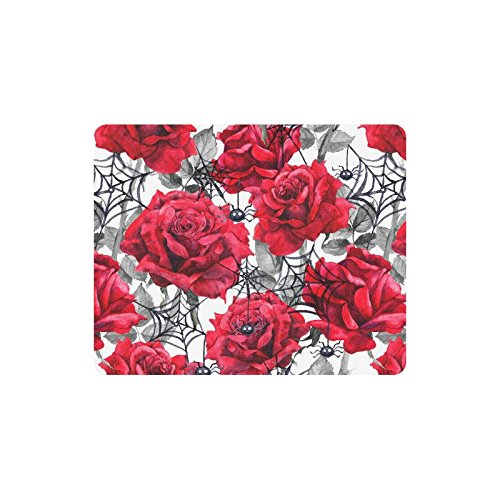 InterestPrint Watercolor Halloween Decoration Roses Black Spiders and Web Rectangle Non-Slip Rubber Mousepad Mouse Pads/Mouse Mats Case - Rose Web