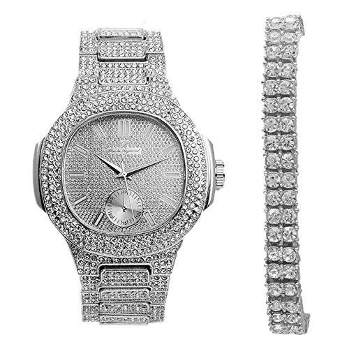 (2 Row Tennis Bling Bracelet with Hip Hop Iced Out Silver Oblong Watch - 8475B 2RTSilver)