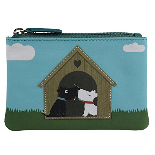 Mala Leather Women's Leather Scotty Dogs In Love Coin Purse By Mala Zipped Handy Onesize Black White by Mala Leather