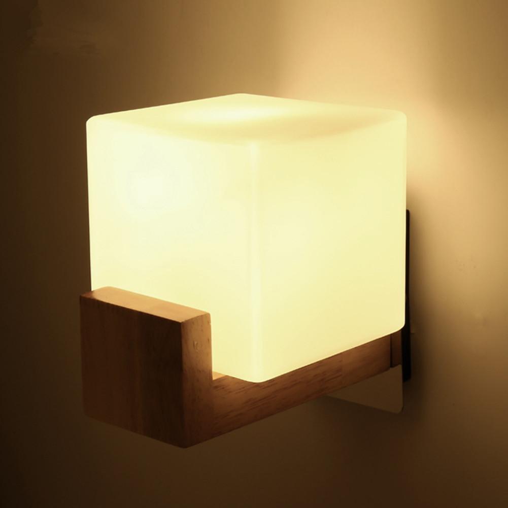 YMXJB Moderno madera LED pared lámpara suave luz dormitorio cabecera pasillo balcón iluminación decorativa