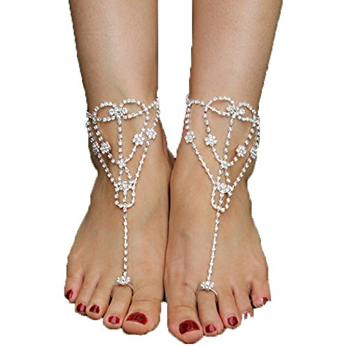 Youcoco Hot Fashion Women Crystal Barefoot Sandals Beach Wedding Foot Anklet by Youcoco (Image #1)