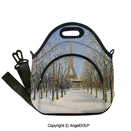 - AngelDOU Country Decor portable thickening insulation tape Lunch bag Winter Scene of Historical Eiffel Tower in Paris Snowy Day City European Urban View for Women Kids Baby Girls12.6x12.6x6.3(inch)
