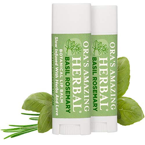 Natural Lip Balm with Immune Supportive Essential Oils Basil and Rosemary 2 Pak