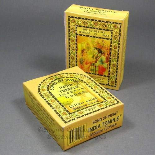 Indian Temple Incense - Song of India - India Temple Cone Incense, 2 x 25 Cone Pack, 50 Cones Total, (IN7)