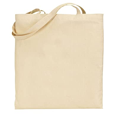 10 Natural long handle cotton Tote Bags: Amazon.co.uk: Clothing