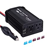 Power Car Inverter 300W DC 12V to 110V AC Quesvow Converter with 4.8A Dual USB Car Charger Adapter-Black