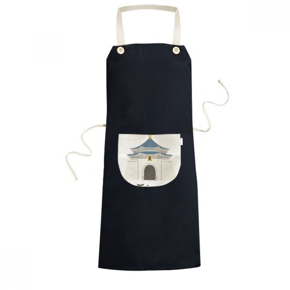 DIYthinker Taiwan Travel Chiang Kai-shek Memorial Hall Cooking Kitchen Black Bib Aprons With Pocket for Women Men Chef Gifts
