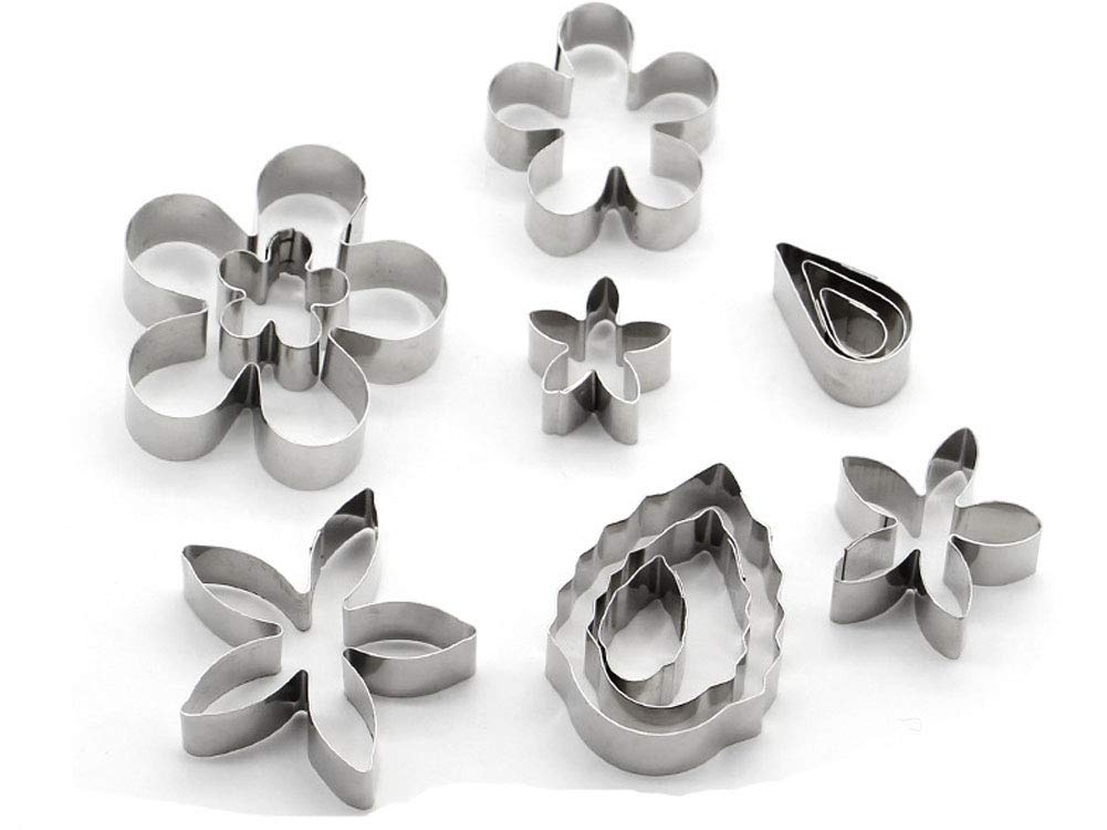 Flower Shapes Cookie Cutters - Set of 12 Stainless Steel Biscuit Fondant Vegetable Cutters for Spring & Easter, Halloween, Christmas