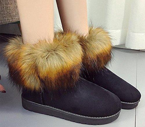 MEILI Damenstiefel, Damenschuhe, Schneeschuhe, Rundkopf, Wildleder, plus Samt, dick werdend, warm, kurze Stiefel black