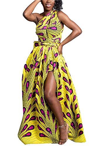 FEIYOUNG Women's Sexy Dashiki Floral Printed Side Slit Long Maxi Dresses Bohemian High Waist Vestidos (Medium, Dashiki Yellow)