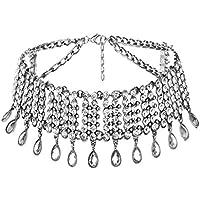 QTMY Diamond Statement Choker Necklace Jewelry for Women (Silver)