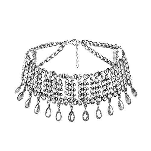 - QTMY Diamond Statement Choker Necklace Jewelry for Women (Silver)