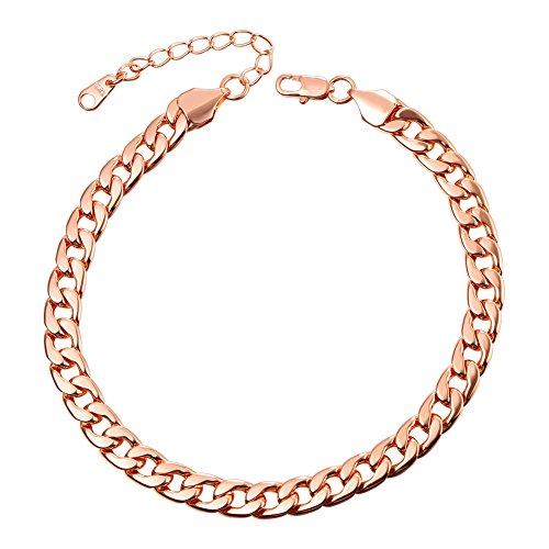 U7 Barefoot Jewelry Cuban Chain Anklet Women/Men Foot Bracelet, 25-30 cm Long (Rose Gold)