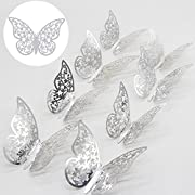 LOLOAJOY 36 pcs Butterfly Decals Hollow-out 3D Stereoscopic Butterfly Stickers Glitter Art Murals for Wall or Party Decorations Silver