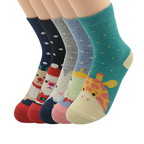 Zando Womens 5 Pack Patterned Cozy Soft Warm Thick Winter Wool Knit Crew Socks 5 Pairs Christmas (Maple Color Platform)