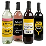 Best Teacher Gift - Teacher Appreciation Gift Wine Bottle Label Stickers - Last Day of School Gifts for Teachers - Set of 4