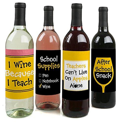 Best Teacher Gift - Teacher Appreciation Gift for Women and Men - Wine Bottle Label Stickers - Set of 4