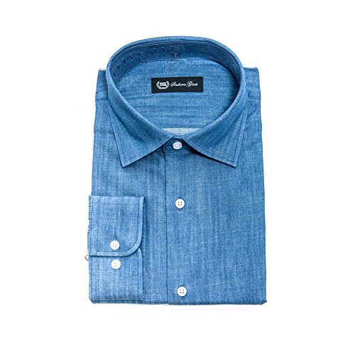 Southern Gents Men's Denim Spread Collar Oxford Shirt (17.0
