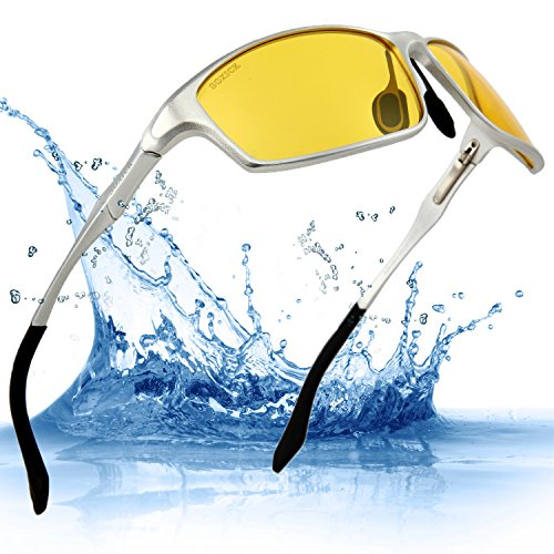Soxick Mens's Sunglass for Night Driving Polarized Glasses Fishing Outdoor Sport Yellow Lens Slivery - Sunglasses Light Enhancing