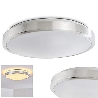 LED Deckenleuchte Wutach, runde Deckenlampe aus Metall in Alu ...