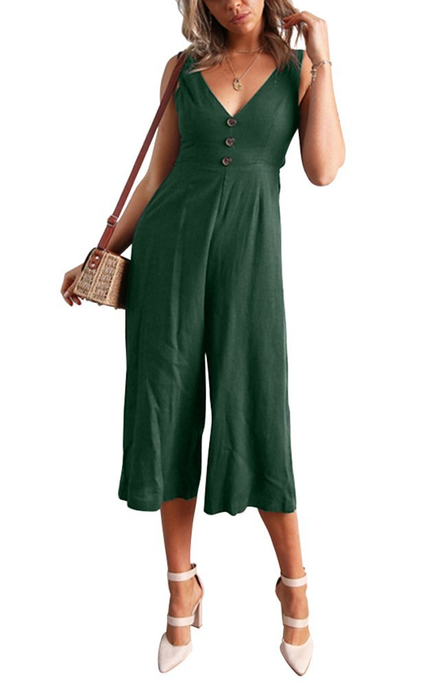 Yeshire Women's Causal V Neck Sleeveless Solid Color Backles Wide Jumpsuit Rompers Long Pants X-Large Green