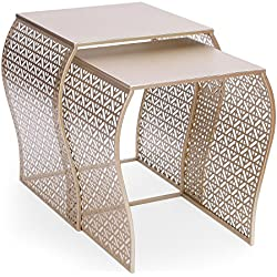 Adeco Luxury Modern Metal Golden Accent Nesting Stackable Side End Table, Set of 2